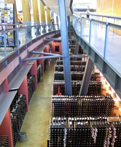The wine collection at the National Wine Center.  We were told that the bottles of Penfold's Grange were alarmed.