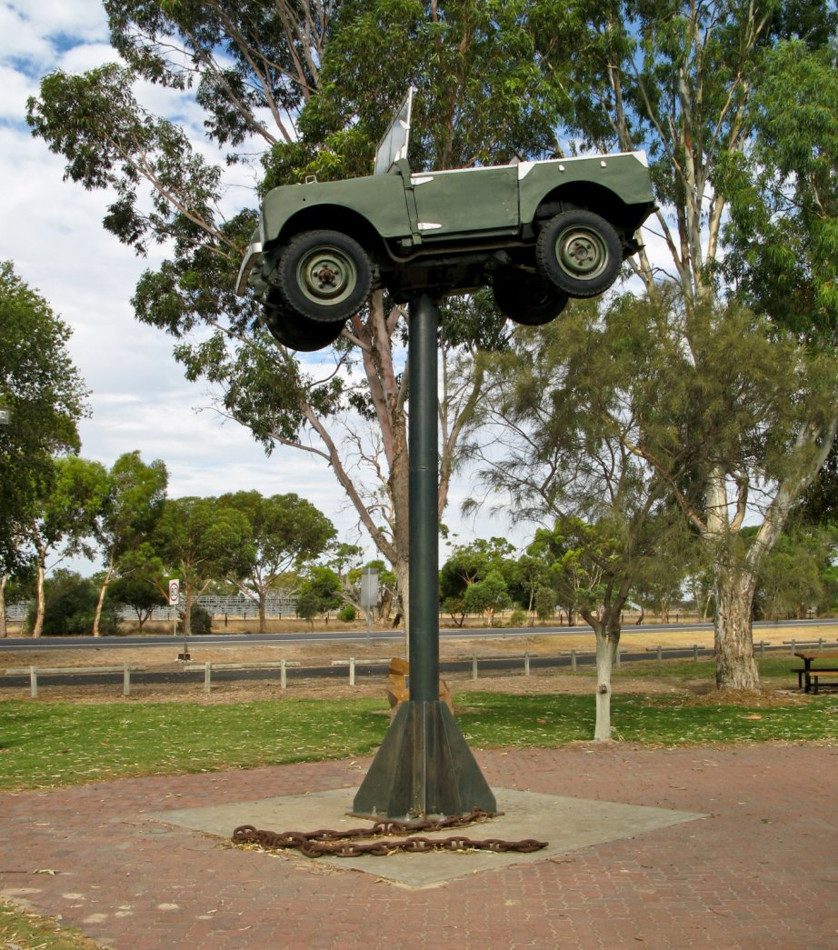I guess it was a LandRover ON a pole.  What's the chain for?