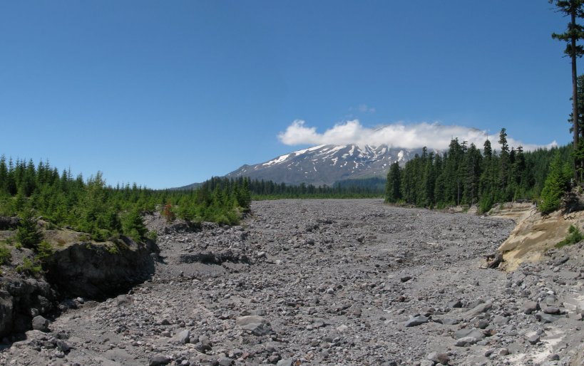Lahar path with Mt. St. Helens in the background