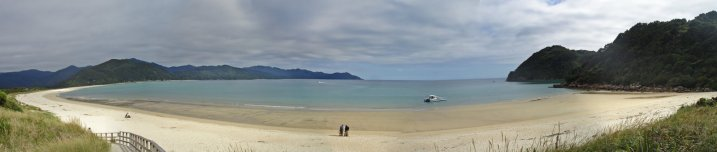 Panorama at Awaroa Bay on departure