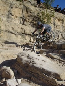 Unnamed rider on the Horsethief Bench drop in Fruita