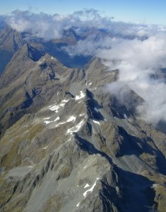 Southern Alps from the airplane on the way to Milford Sound