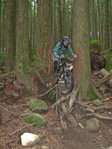 Scott on Corkscrew--notice the bark removal at handlebar level