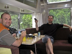 Erik and Scott chilling in their trailer