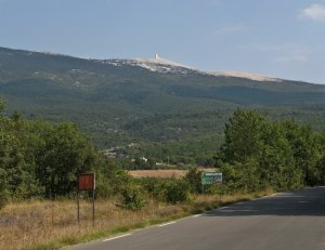 The view from the road near the first marker with Mt. Ventoux in the distance