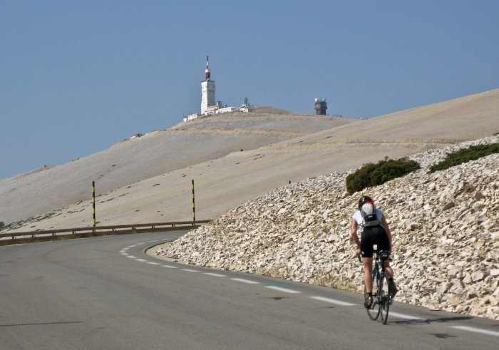 Becky, out of the saddle, and pushing up the final portion of the climb