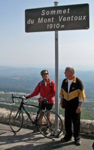 Becky and her new admirer at the top of Mt. Ventoux