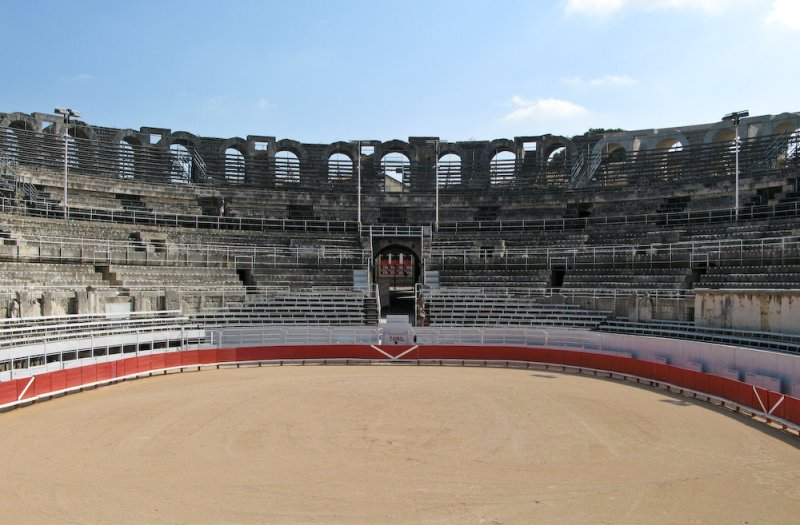The coliseum in Alres arranged for bullfights.