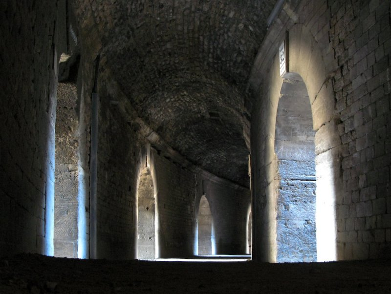 Inside the coliseum in Arles