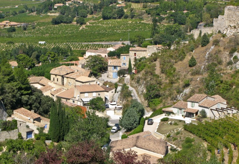 The town of Gigondas from the adjacent hillside