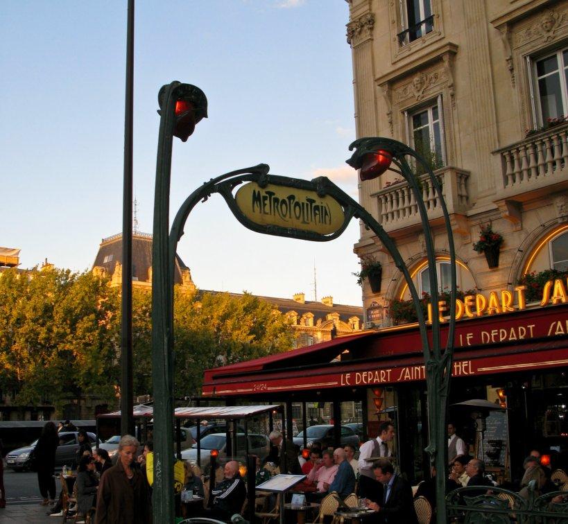 Art Nouveau entrance to the Paris Metro in the Latin Quarter