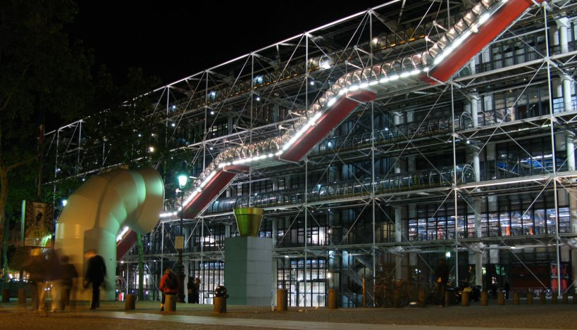 The George Pompidou Center (Musee National d'Art Moderne) at night