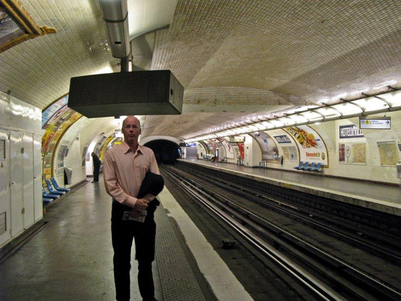 Self photograph, Paris Metro, Hotel de Ville