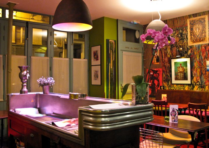 Inside the cafe of Hotel du Petit Moulin designed by Christian Lacroix