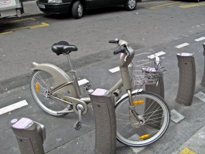City bikes parked at a station