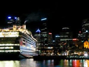 Cruise ship in Circular Quay at night
