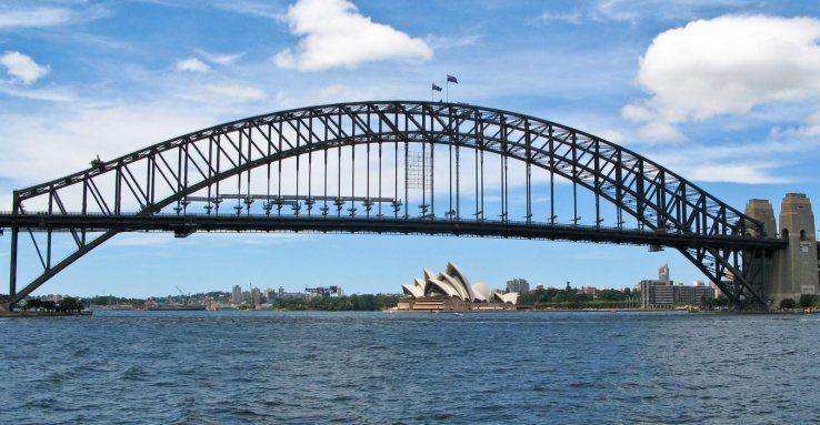 Opera House and Sydney Harbor Bridge on the way back from Darling Harbor