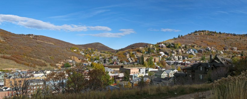 The town of Park City from the bottom of Sweeney's Switchbacks