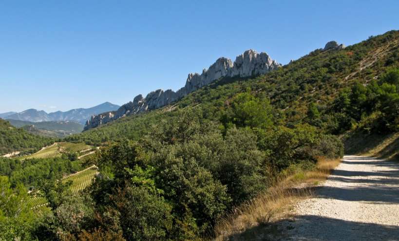 The Denetelles de Montirail from the dirt road the we took down after riding up from Gigondas