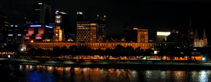 The Melbourne's Central Railway Station at night