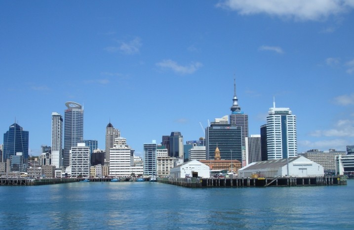 Leaving Auckland on the ferry