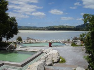 Hot pools at the Polynesian Spa looking out over Rotorua Lake