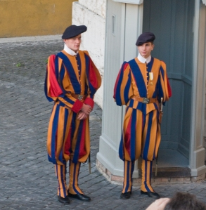 Swiss Guards at the Vatican in wardrobes designed by Michelangelo