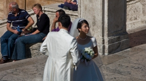 Wedding photos on the Spanish Steps