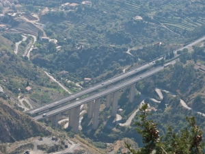 The autostrada emerges from under Taormina on to a viaduct