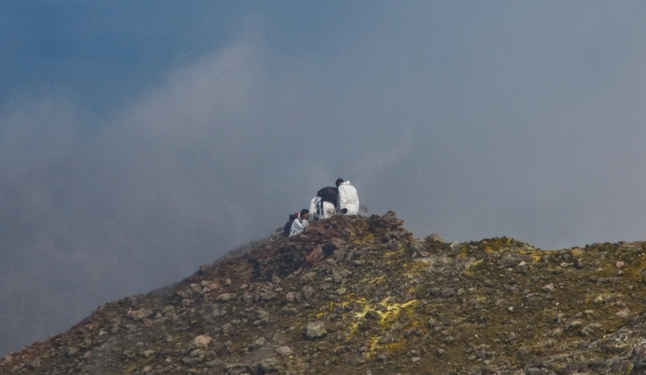 Researchers on the top of Mt. Etna