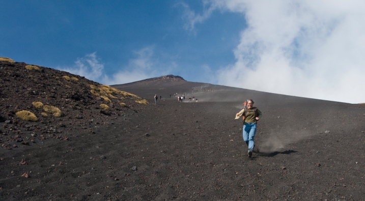 Becky runs down the lower volcanic ash field