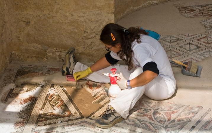 Restoration in progress at Villa del Casale