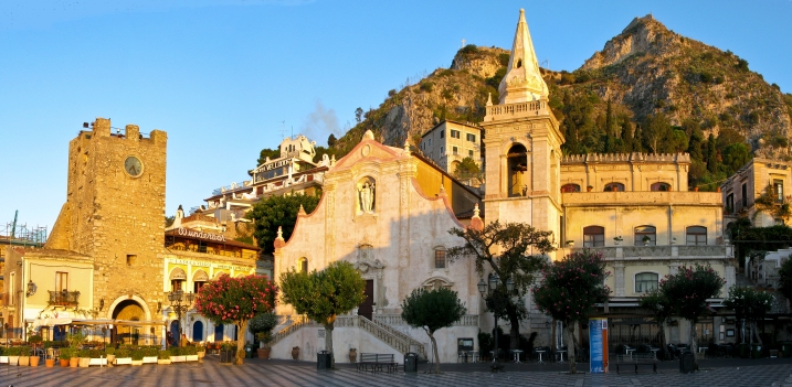 Piazza IX Aprile and San Giuseppe in Taormina in the morning light (panorama)