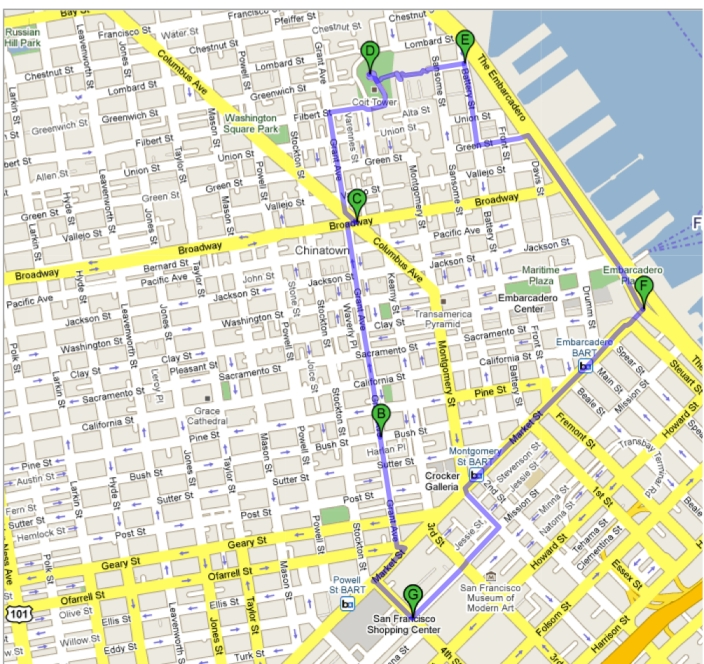 Our route through San Francisco