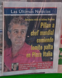 Tony Bourdain on the cover of a newspaper in Santiago.  He looked less ragged in the Puerto Montt airport.