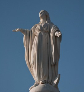 The statue of the Virgen de la Inmaculada Concepcion on Cerro San Cristobal in Santiago