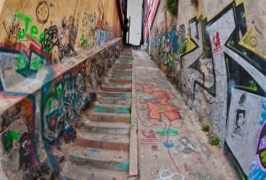 Graffiti on a steep staircase in Valparaiso