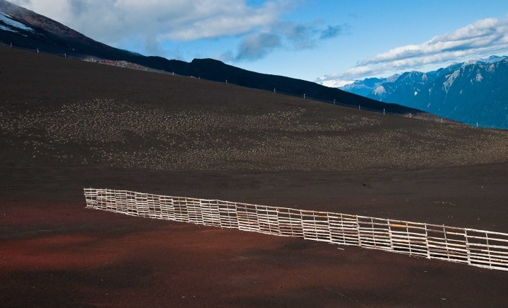 Snow fence on Volcano Orsono