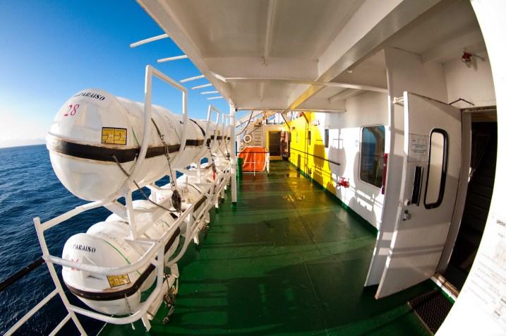 Navimag ferry in sunlight