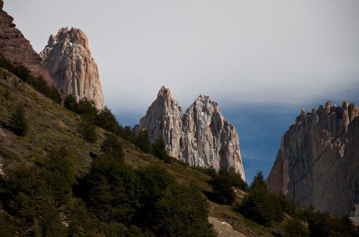 The towers peaking over the ridgeline