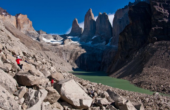 The base of the towers in Torres del Paine