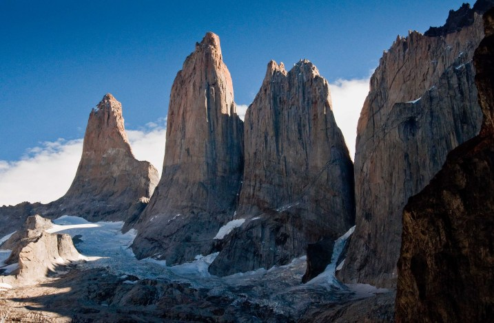 An unobstructed view of the towers or torres of Torres del Paine