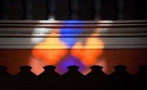 Colors from the light passing through the stained glass at Termas de Cauquenes