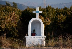 A memorial shrine to souls lost on the highway outside of Rancagua
