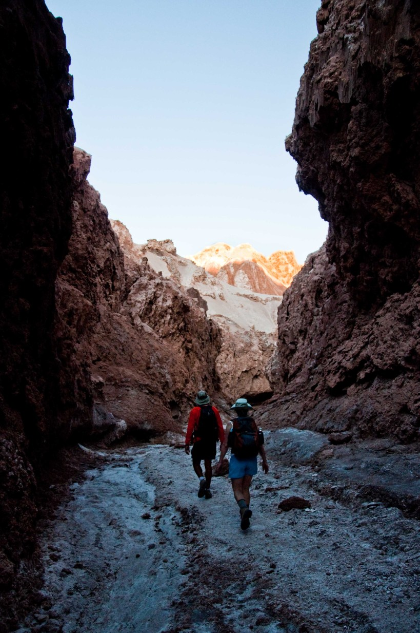 Salvador and Becky head out of Kari Gorge in the Atacama Desert