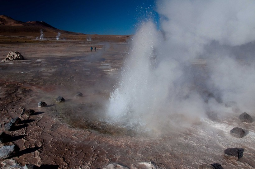 A geyser erupting at El Tatio