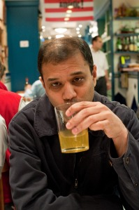 Co-conspirator Ganesan testing the cider