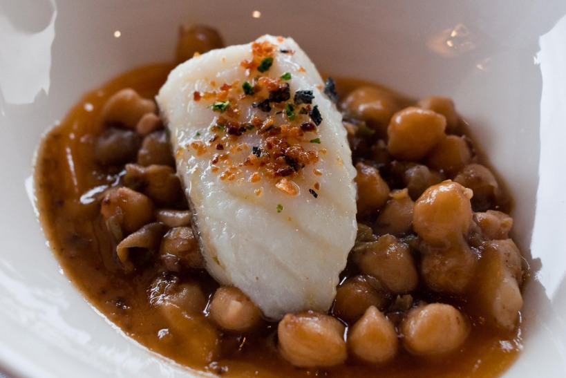 Garbanzo beans and bacalao at Andra Mari