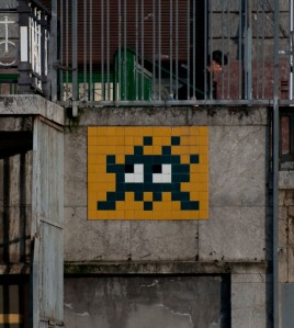 Space Invader mosaic in Bilbao by Invader