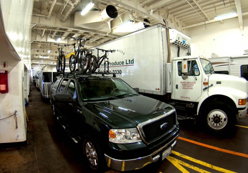 Every wonder how a trailer and bikes fits into a ferry?